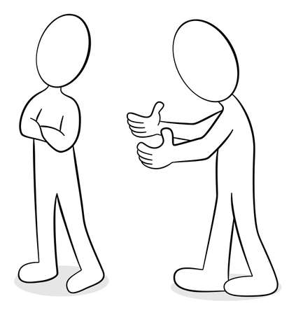 argumentation: illustration of two people are of different opinion
