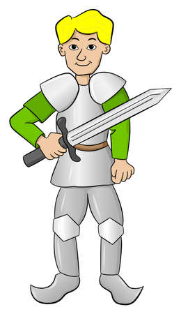 knave: vector illustration of a knight with sword and armor