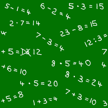 vector illustration of a seamless pattern of math homework on a blackboard Vector