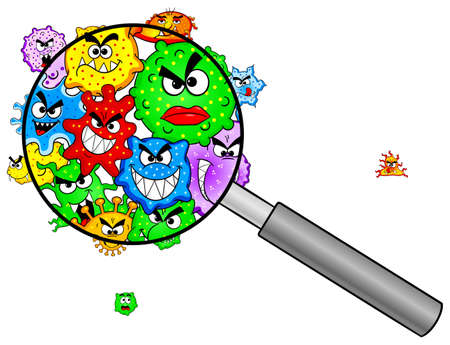 vector illustration of bacteria under a magnifying glass Vectores