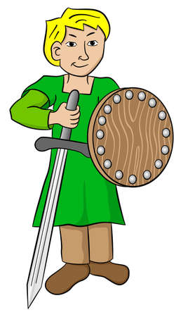 knave: vector illustration of a squire with sword and shield Illustration