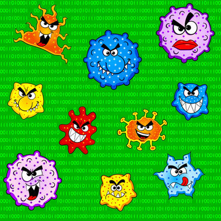 computer bug: vector illustration of a seamless pattern of viruses in computer