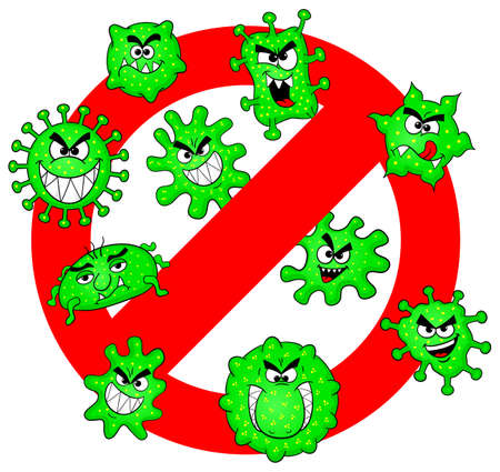 contagious: vector illustration of viruses are not permitted sign Illustration