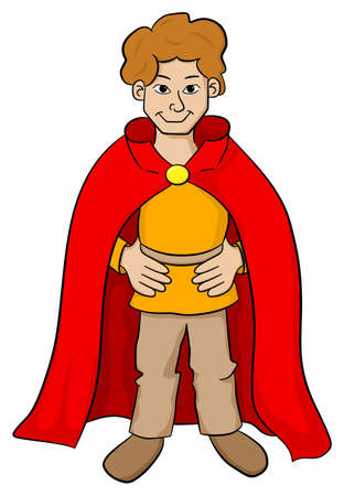 knave: vector illustration of a squire with red cape