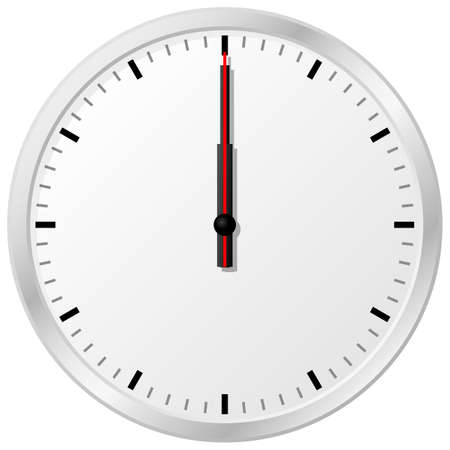 vector illustration of a clock at noon