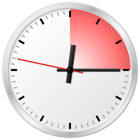 quarters: vector illustration of a timer with 15 (fifteen) minutes