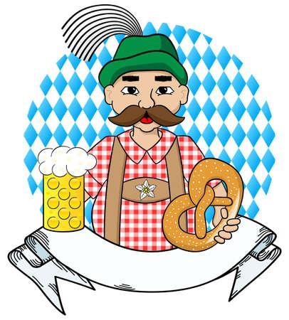 estereotipo: ilustración vectorial de dibujos animados hombre Oktoberfest con cerveza y pretzel y bandera Vectores