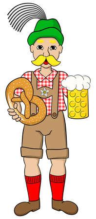 chope biere: illustration vectorielle de dessin anim� homme avec de la bi�re Oktoberfest et bretzel Illustration