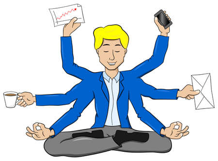 workday: vector illustration of a businessman meditating in lotus position and does a lot of work at the same time Illustration