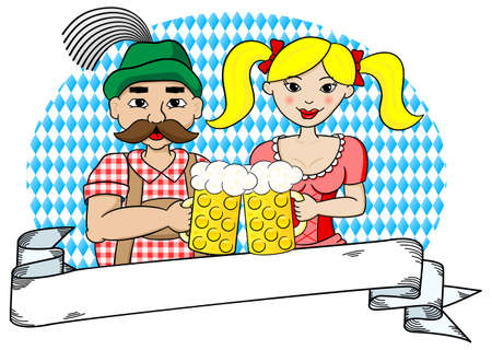 vector illustration of a bavarian couple with oktoberfest beer and banner Vector