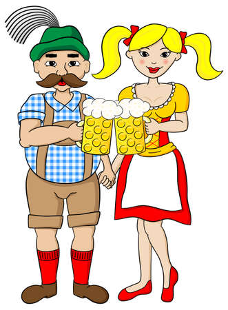 german tradition: vector illustration of a bavarian couple with oktoberfest beer