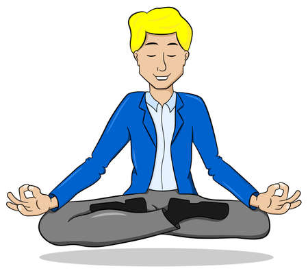cross legged: vector illustration of a businessman meditating in lotus position and floating