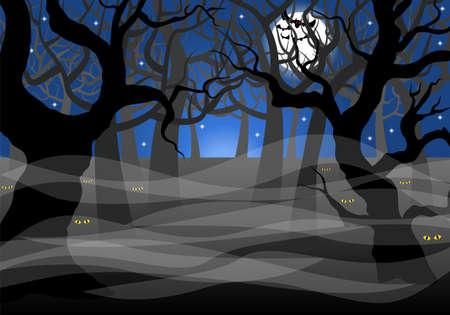 vector illustratie van een donkere spookachtige bos en volle maan