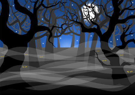 scary forest: vector illustration of a dark ghostly forest and full moon