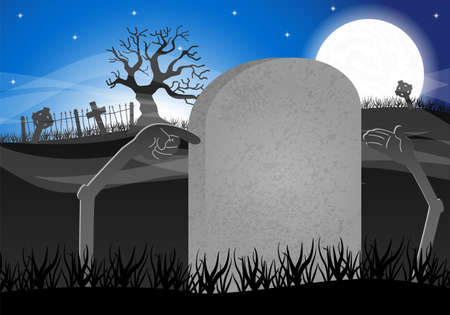 grave stone: vector illustration of a halloween grave stone to write on