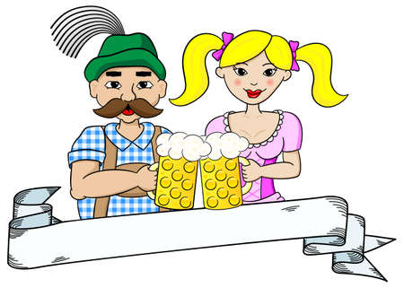 german tradition: vector illustration of a bavarian couple with oktoberfest beer and banner Illustration