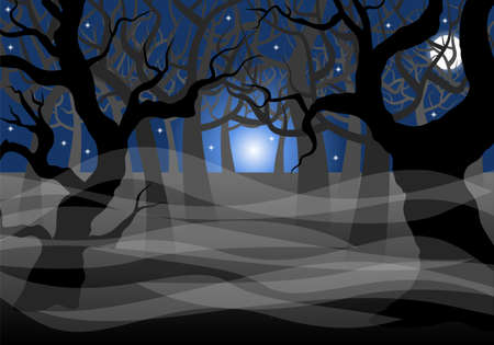 moonlit: vector illustration of a dark ghostly forest and full moon