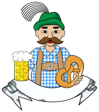 german tradition: vector illustration of cartoon oktoberfest man with beer and pretzel and banner