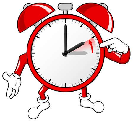 epoca: ilustración de un retorno del despertador a la hora estándar