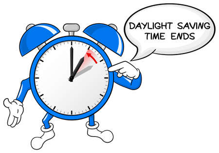 winter time: vector illustration of a alarm clock return to standard time daylight saving time ends