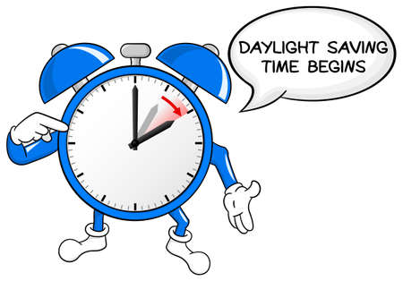 vector illustration of a alarm clock switch to summer time daylight saving time begins