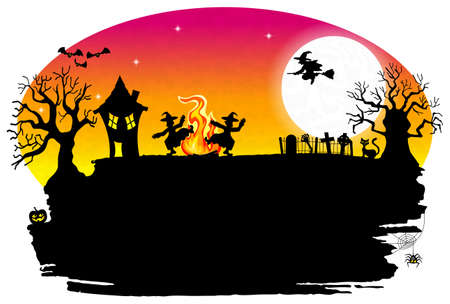 vector illustration of a witch dancing around the fire at halloween Vector