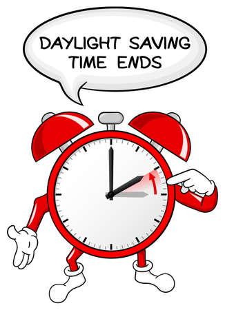 vector illustration of a alarm clock return to standard timedaylight saving time ends Illustration