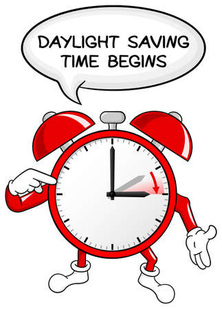 vector illustration of a alarm clock switch to summer time  daylight saving time begins Vector