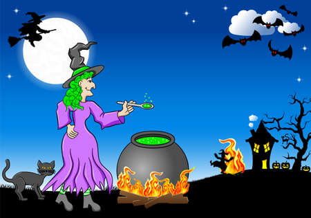 vector illustration of a witch cooking a magic potion in the cauldron Vector