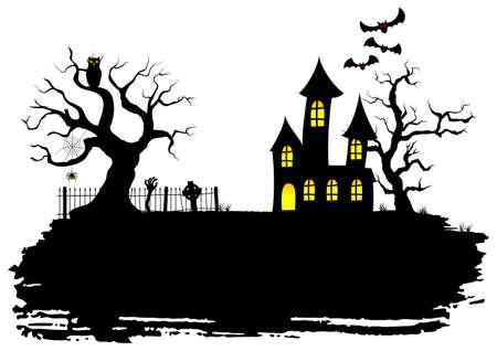 ハロウィーンのお化け屋敷のベクトル図