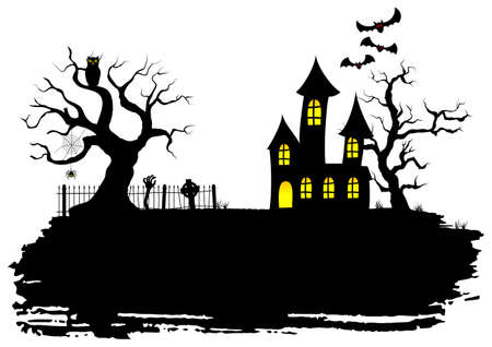 halloween tree: vector illustration of a haunted house at halloween
