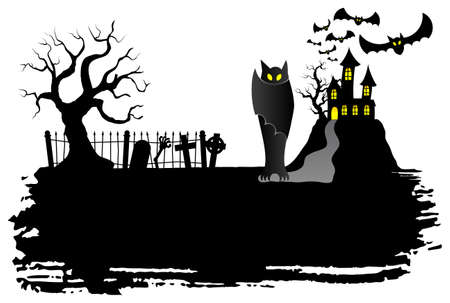 cartoon vampire: vector illustration of a haunted castle with bats