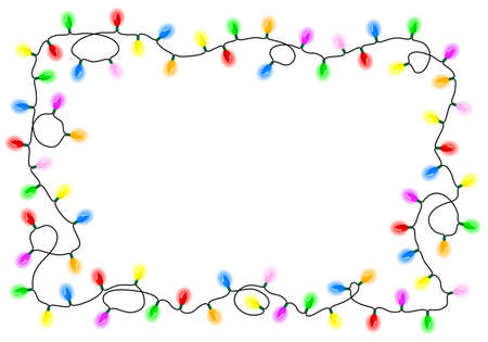 string lights: vector illustration of a chain of colorful lights