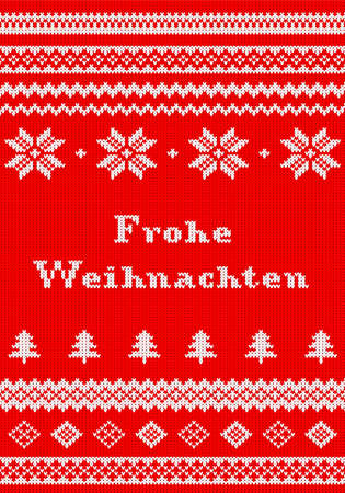 knitted fabrics: vector illustration of a red and white Christmas knit greeting card Frohe Weihnachten (german) = Merry Christmas