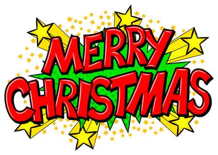vector illustration of a Merry Christmas comic speech bubble