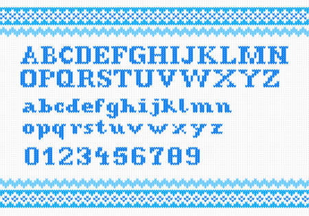 vector illustration of a blue knitting alphabet on white background Vector