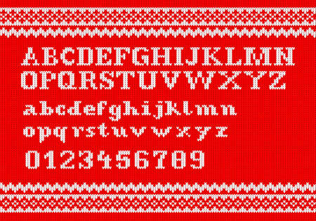 vector illustration of a white knitting alphabet on red background Vector