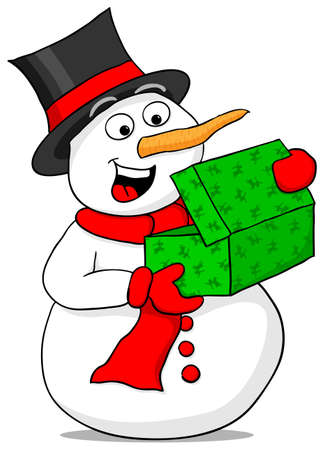 vector illustration of a snowman is excited about a Christmas gift Vector