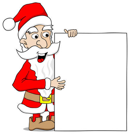 vector illustration of a santa claus presents a sign with copy space Vector