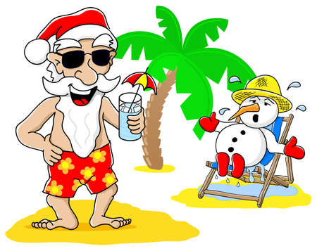 vector illustration of santa claus and snowman at christmas on vacation at the beach Vector