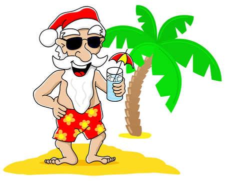 vector illustration of santa claus at christmas on vacation at the beach