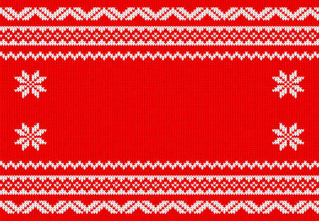 knitted fabrics: vector illustration of a red and white knitted background
