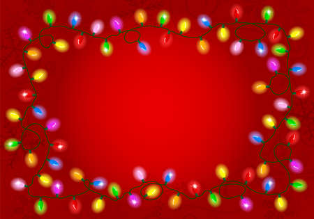 vector illustration of christmas lights on red background with space for text Vectores