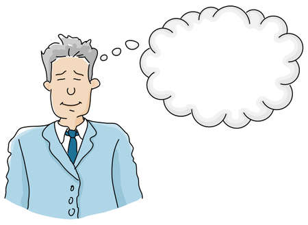 downshifting: vector illustration of a businessman in thought Illustration