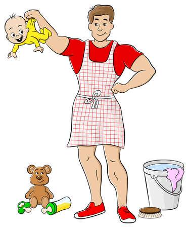 Vector illustration d'un au foyer est occupé à faire le ménage Banque d'images - 34439279