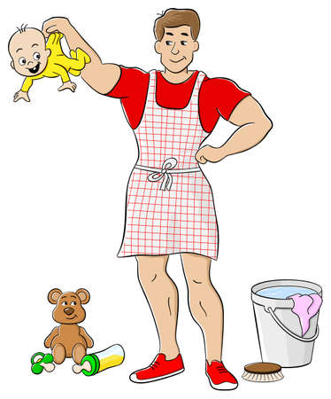 pinafore: vector illustration of a househusband is busy doing housework