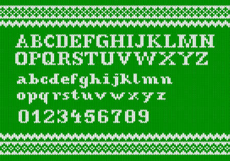 vector illustration of a white knitting alphabet on green background Vector