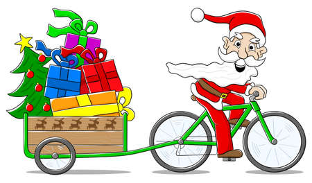 transportation cartoon: vector illustration of santa claus on bicycle delivering christmas gifts