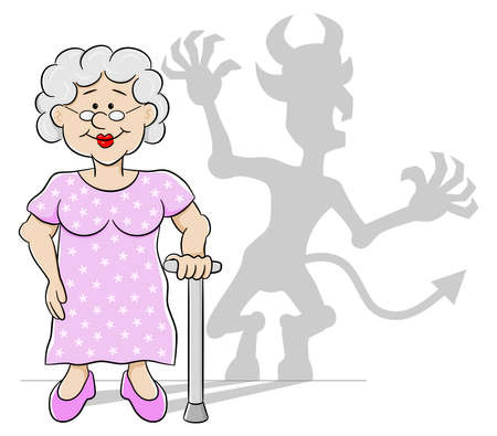 thwarted: vector illustration of an old woman with her devil shadow Illustration