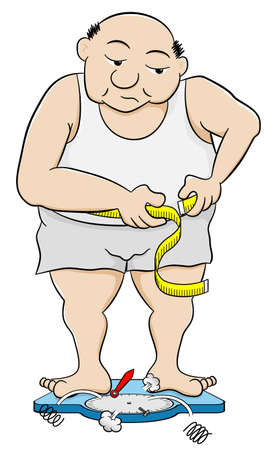 vector illustration of a overweight man measuring his waist circumference Иллюстрация